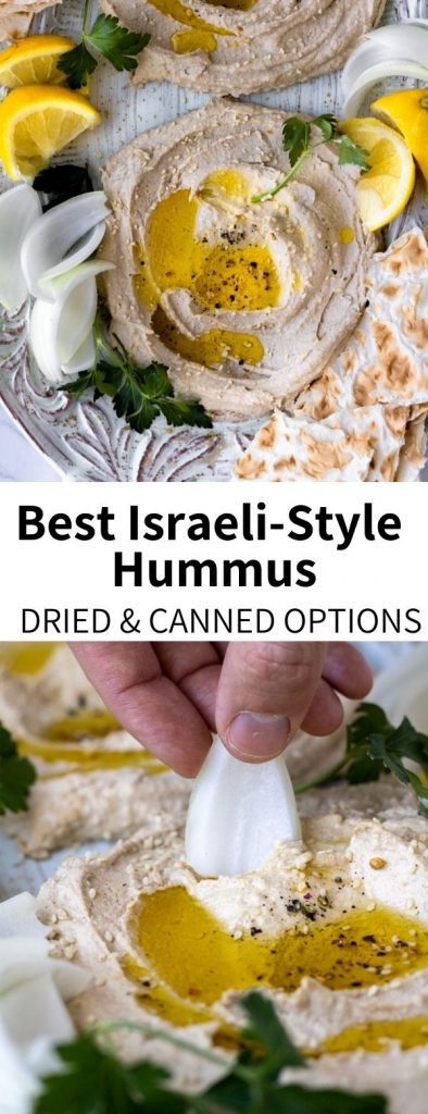 "Make your own hummus the easy way, with pantry staples! This delicious, high protein recipe is a perfect vegan and gluten-free addition to so many meals and snacks. Inspired by my travels and ""Jerusalem: A Cookbook,"" this Israeli-style hummus recipe will be your new favorite. Dried and canned chickpea options included as well!"