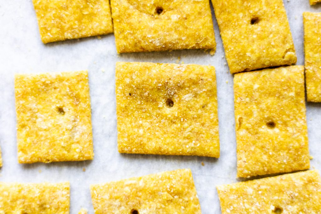 square cheese cracker close up