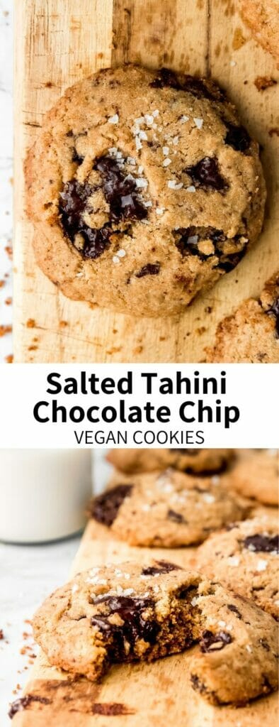 The classic recipe gets an update with nutty sesame seed butter! Tahini Chocolate Chip Cookies are packed with dark chocolate chunks and topped with flaky sea salt. They'll be your new favorite vegan chocolate chip cookie recipe!
