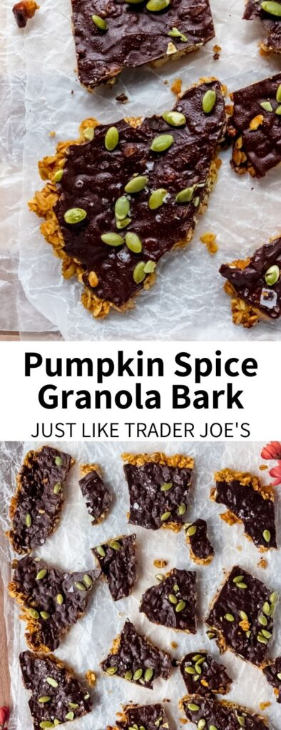 Trader Joe's Pumpkin Spice Granola Bark, made at home! This chocolate-y, vegan, & gluten-free recipe tastes store bought but is easily made at home. Full of heart-healthy nuts nuts and oats, it's great homemade autumn snack.