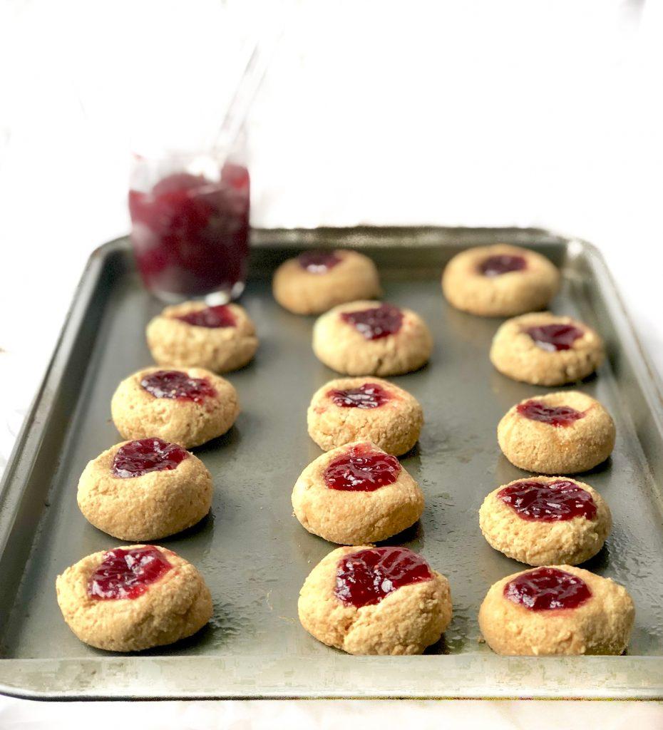 tray of vegan thumbprint cookies