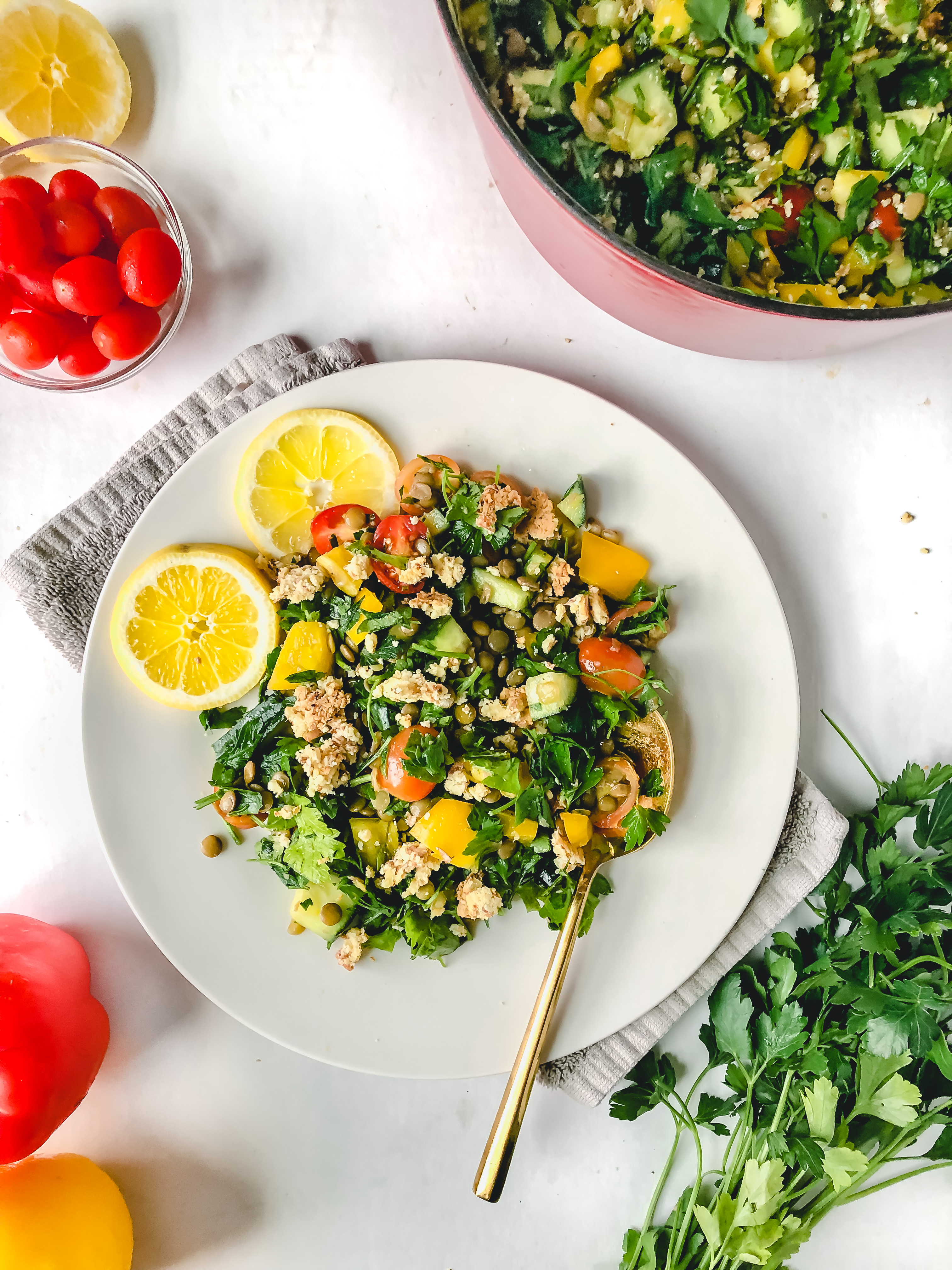 lentil salad with lemon and feta