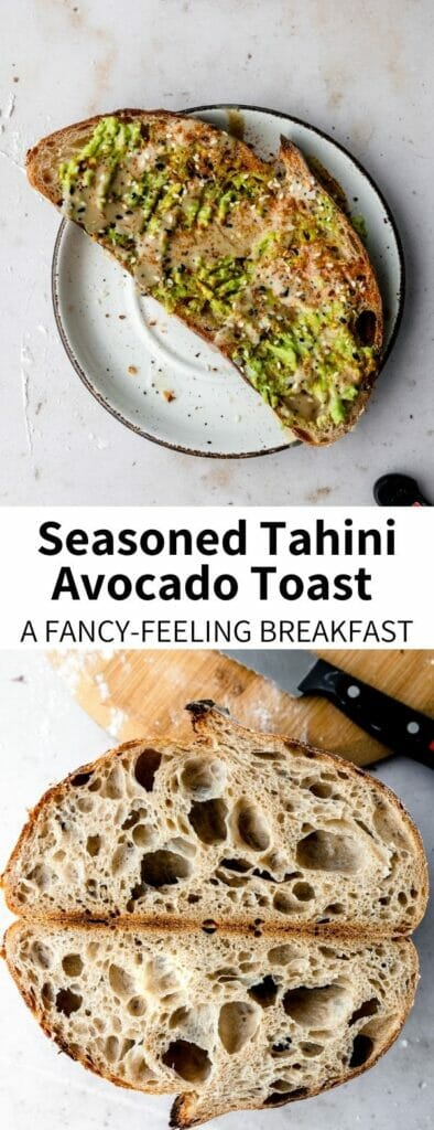 This Tahini Avocado Toast: a perfect everyday breakfast that feels fancy! Fully topped with Old Bay, Everything Bagel Seasoning, and tangy lemon juice, this show-stopping toast will have you looking forward to the morning. It's a healthy vegan breakfast ready in 5 minutes!