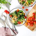 bowl of vegan garlic pasta