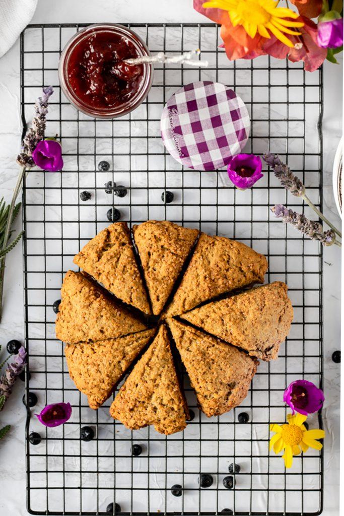 circle of 7 vegan scones, pre cut, with berries