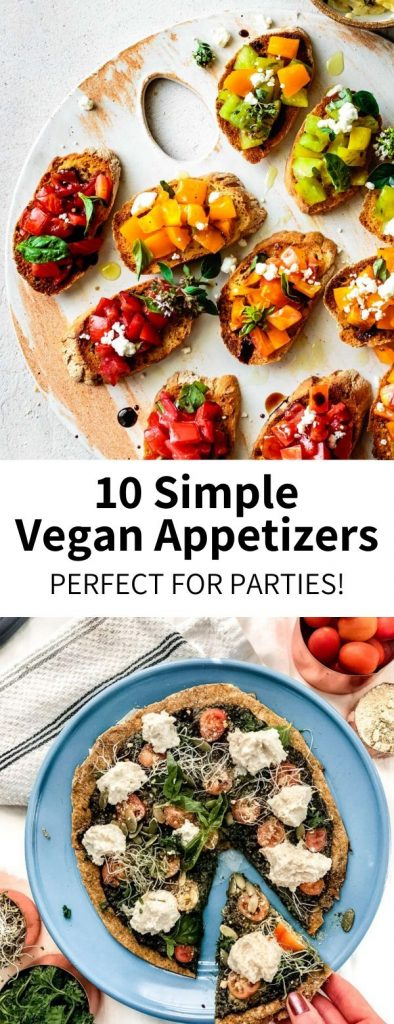 A full roundup of easy vegan appetizers that are great for parties during the holiday season and beyond! Dips, chips, small bites, and sweet treats that are simple to prepare and crowd-approved. #appetizer #vegansnack #party #partyfood #nye #newyears #thanksgiving #christmas #veganappetizer #plantbased #vegetarian #glutenfree