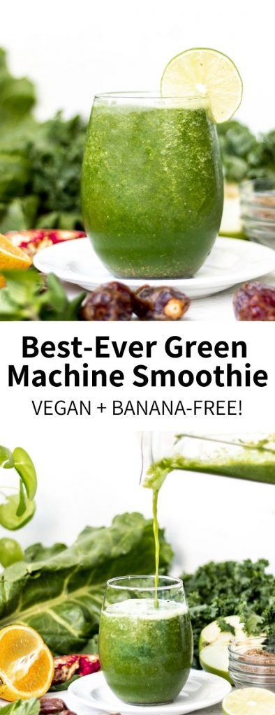 Loaded with vitamin-rich greens like kale, chard, and mint, this naturally-sweetened green machine smoothie is so refreshing and totally vegan! A healthy drink ready in 5 minutes, you'll want to sip this every morning.#kale #smoothie #greenmachine #greensmoothie #vegansmoothie #vegan #bananafree #healthy #healthyrecipes #veganrecipes #plantbased