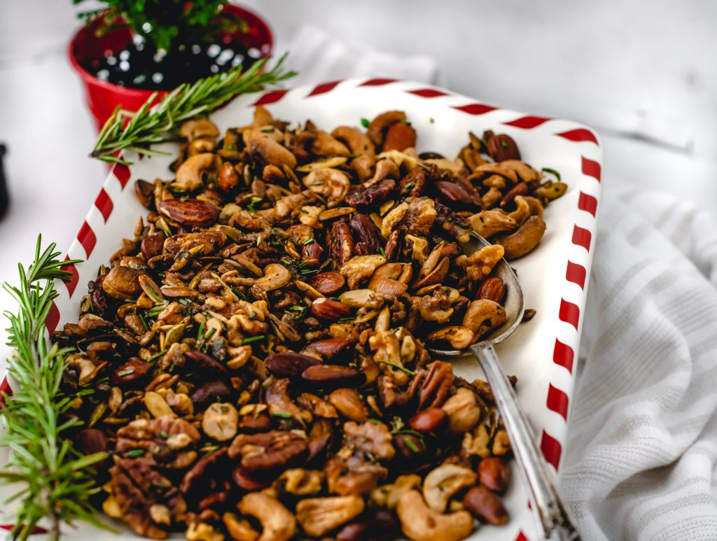 full tray of rosemary spiced nuts