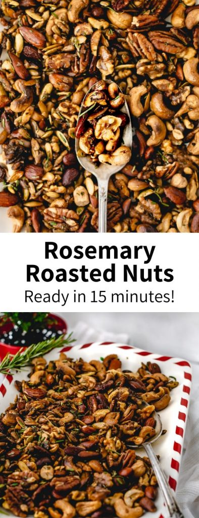 Inspired by Trader Joe's, these rosemary spiced nuts are a perfect party mix! Ready in 15 minutes & a vegan roasted nut mix everyone will love. #nuts #rosemary #party #appetizer #roasted #healthy #healthysnack #christmas #party #spiced #protein #plantbased
