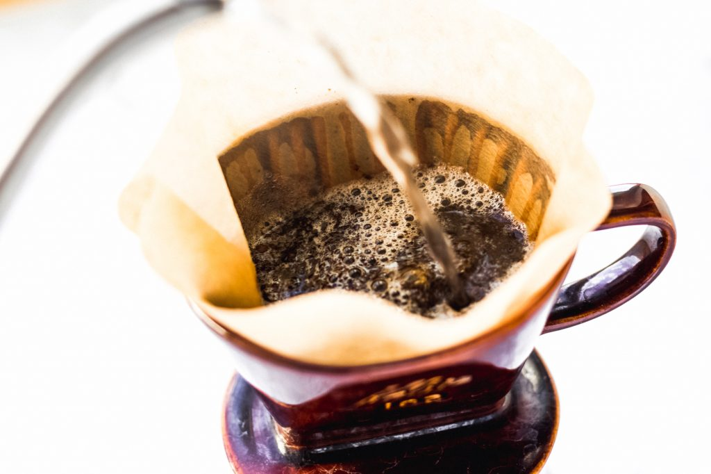 pour shot of water going into Kalita wave coffee maker