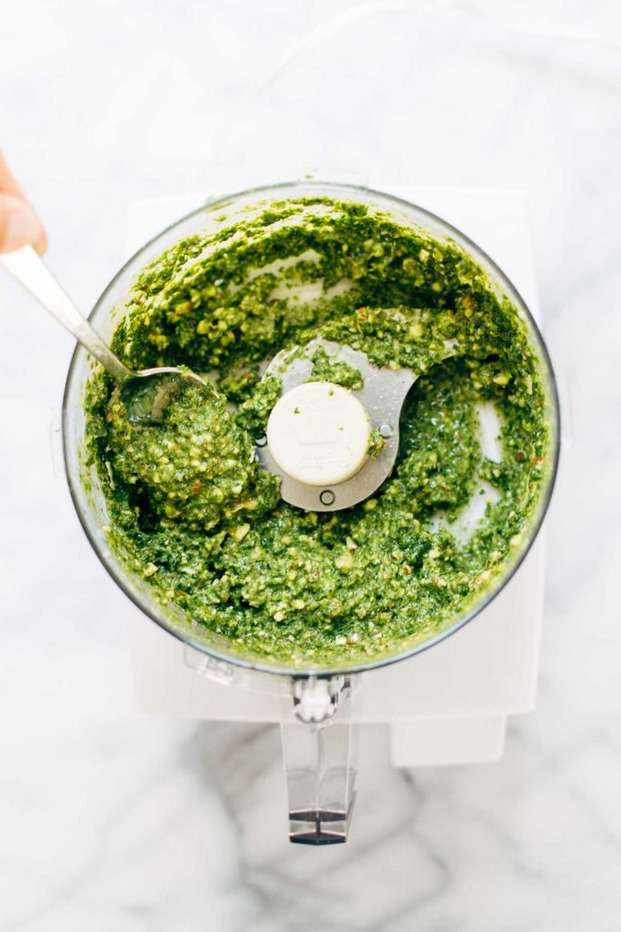 food processor with green pesto
