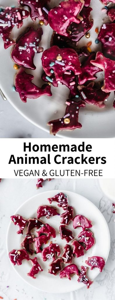 Whip up a nostalgic snack with these Homemade Animal Crackers! Totally vegan and easily gluten-free, this cute crackers are perfect for kids and adults alike. They're a fun party dessert that everyone will love! #healthydessert #vegan #animalcrackers #animal #cracker #sprinkles #cute #childhood #nostalgia #party #snack #kids #kidfood