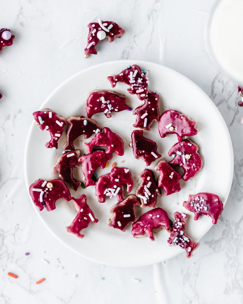 white plate with purple sugar animal crackers