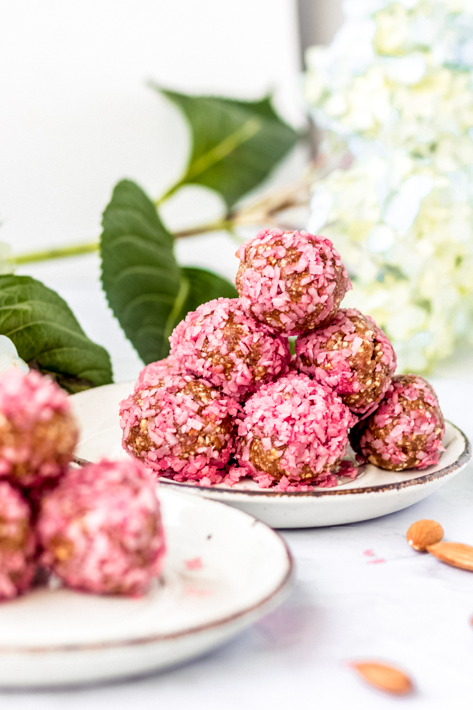 plate with pink healthy vegan snack bites