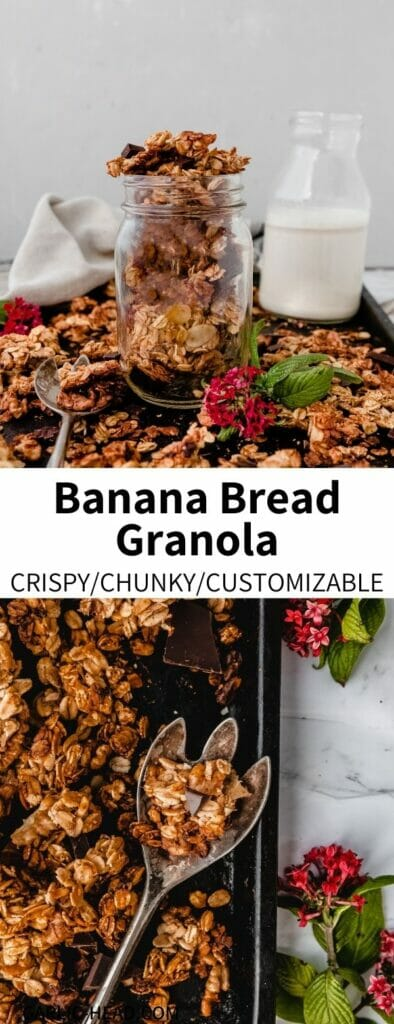 This Banana Bread Granola Recipe is easy to make and full of cozy flavor! Naturally sweetened and packed with vegan protein, this simple and healthy treat is great for breakfast or as a snack. Read on to learn a trick for extra granola clumps.
