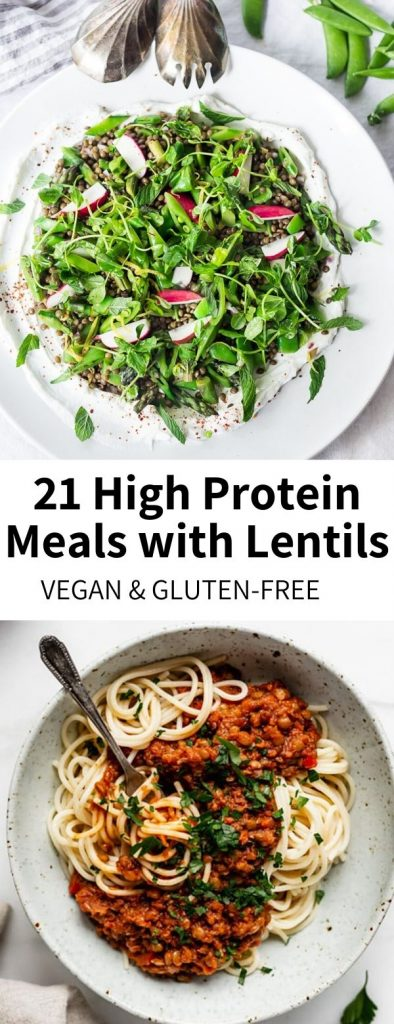 This roundup of 15 high protein vegan meals features a star of the plant-based space: the trusty lentil! Versatile, cheap, easy to use and SO delicious, you'll love featuring it in so many recipes. From tacos to soups to salads and more, read on for my favorite vegan lentil recipes!