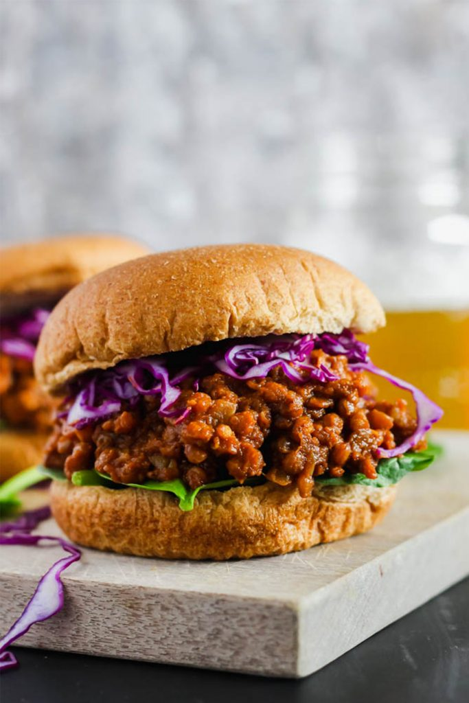 vegan sloppy joe with red cabbage on tray