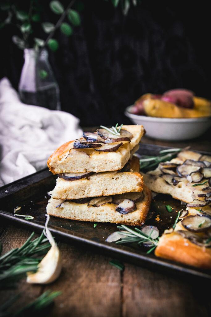 stack of rosemary potato focaccia bread