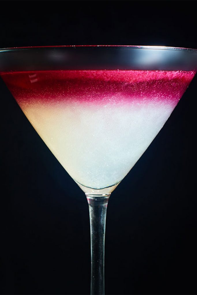 side view of ombre purple and white margarita