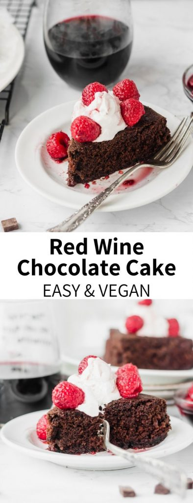 The BEST chocolate cake you'll ever try! Leftover red wine adds body that perfectly complements the rich, fudge-y flavor of this decadent vegan cake. Wine-soaked raspberries and coconut whipped cream make this red wine chocolate cake the perfect dessert for any occasion.