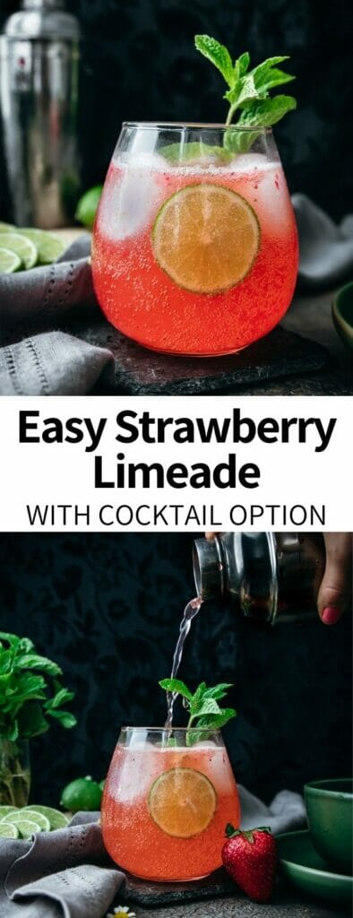This healthy Strawberry Limeade will be your favorite summer refresher! A perfect pair to classic cookout foods, it's sweet, tangy, and easily customized. Topped with mint for a cooling summer beverage!