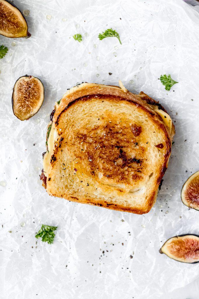 birds eye view of an unsliced vegan sandwich