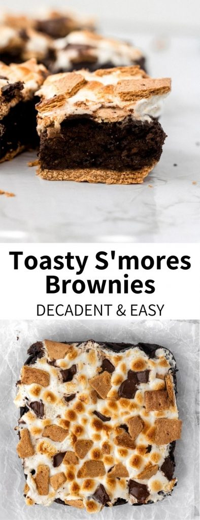 Vegan S'mores Brownies are a decadent treat with a healthy substitute you'd never guess. A graham cracker crust topped with dark chocolate brownies coated with toasty marshmallows make this dessert irresistible, and just like a classic campfire treat!