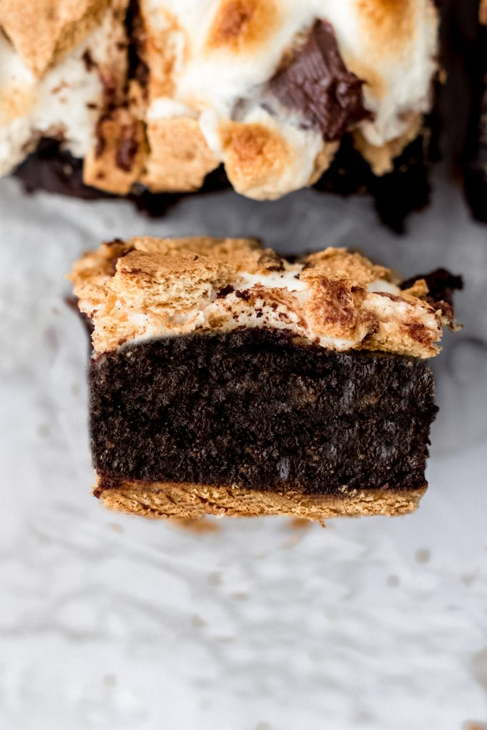 side view of dark chocolate vegan s'mores brownie dessert