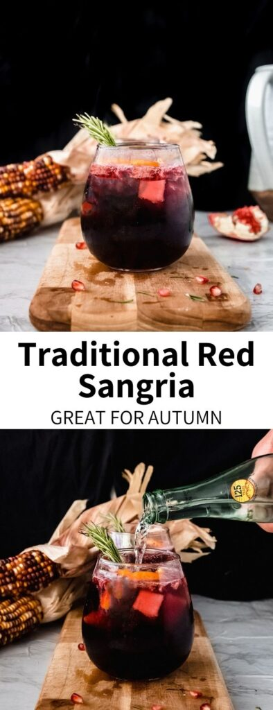 This Red Sangria Recipe is perfect for fall, with fruity flavors and a sparkling finish! Red wine is mixed with orange juice and seasonal fruits for a refreshing drink perfect for celebrations or nights at home. It's a super-simple traditional recipe that everyone will love!