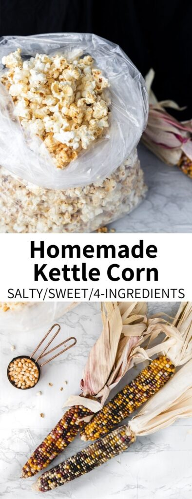 This recipe should how to make kettle corn, at home! This sweet and salty treat tastes just like the classic festival snack, and is made with only four ingredients. Ready in 5 minutes, it's full of festive flavors and perfect for sharing.