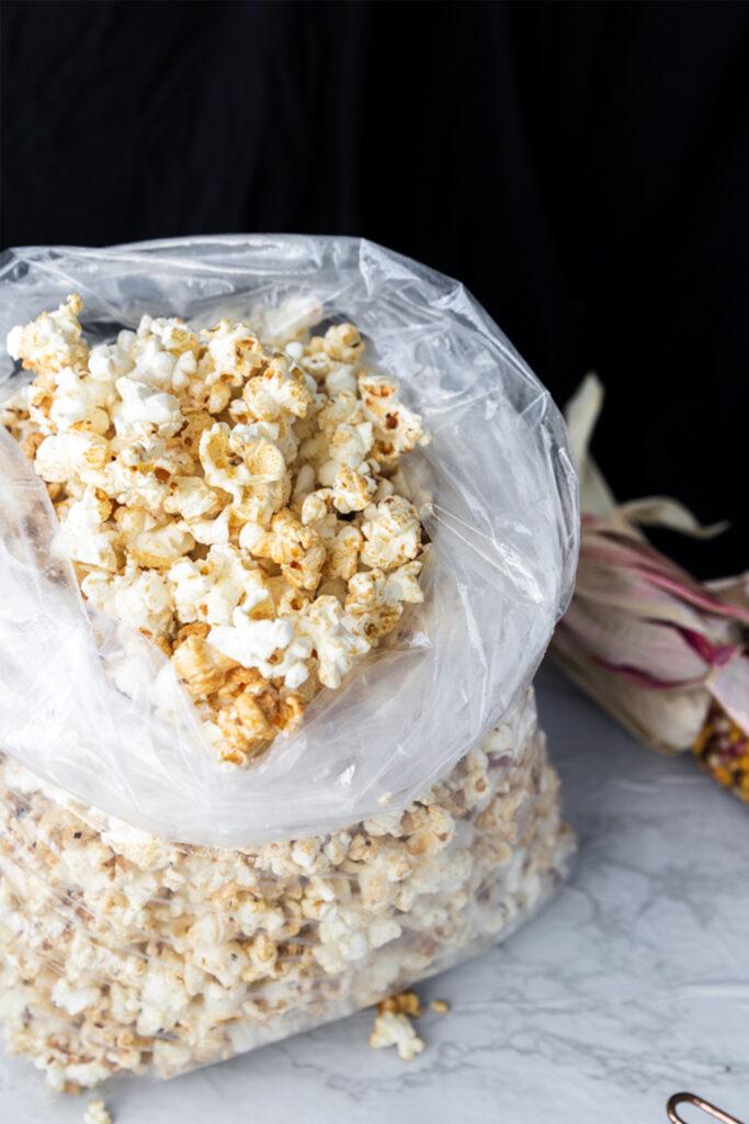 close up of popcorn with caramel and salt
