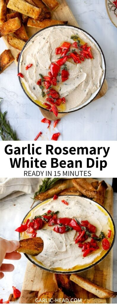 This Rosemary White Bean Dip is a perfect easy appetizer recipe. Full of quick roasted garlic, fresh herbs, and zippy lemon juice, it's a satisfying snack with vegetables or crackers. Top with roasted red peppers and pine nuts!