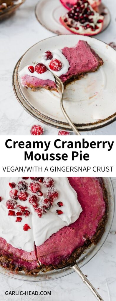 This Cranberry Mousse Pie is a bright and tart counterpoint for any Thanksgiving or holiday spread! Made with a gingersnap crust and topped with fluffy coconut cream, it's a festive treat that's totally vegan.