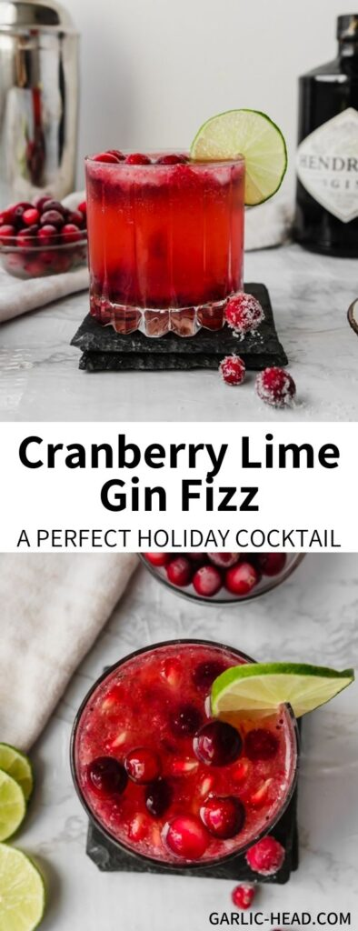 This Cranberry Gin Fizz is a great Thanksgiving or Christmas cocktail, but delicious any time of year! Made with cranberry sauce, fresh lime, gin, and sparkling lime water it's a refreshing and festive drink.