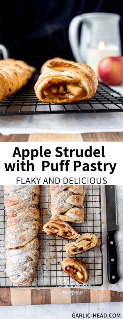 This Easy Apple Strudel is made simple with puff pastry! It has a cinnamon apple filling with notes of warming spices and brown sugar. This simple German dessert can be totally vegan and is a great treat for the holiday season (or really any time of year!