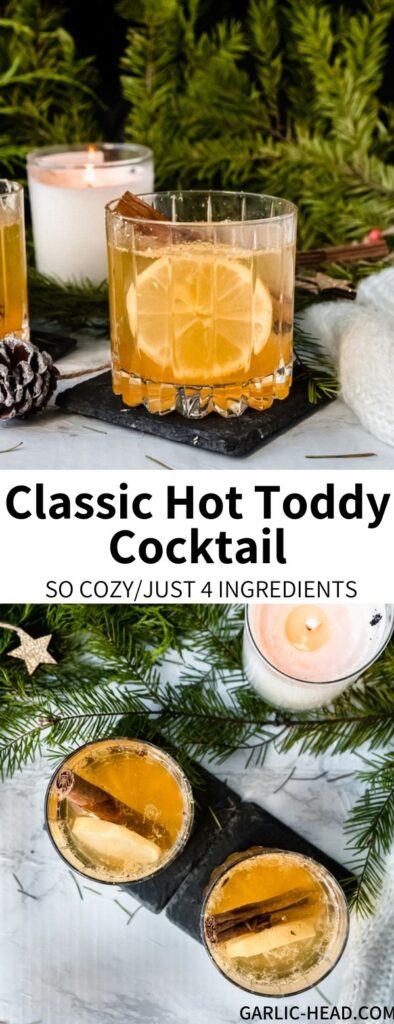 This Classic Hot Toddy recipe will warm you from the inside out! Lemon, honey (or maple syrup), and ginger are perfect complements if you're feeling under the weather. Add a shot of whiskey and you're all set for the best winter cocktail.
