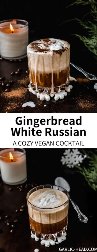 This Gingerbread White Russian Recipe is a cozy winter treat to warm you from the inside out! Filled with Kahlúa, vodka, and coconut cream, it's a vegan version of a classic alcoholic drink. Gingerbread spices add a festive touch.