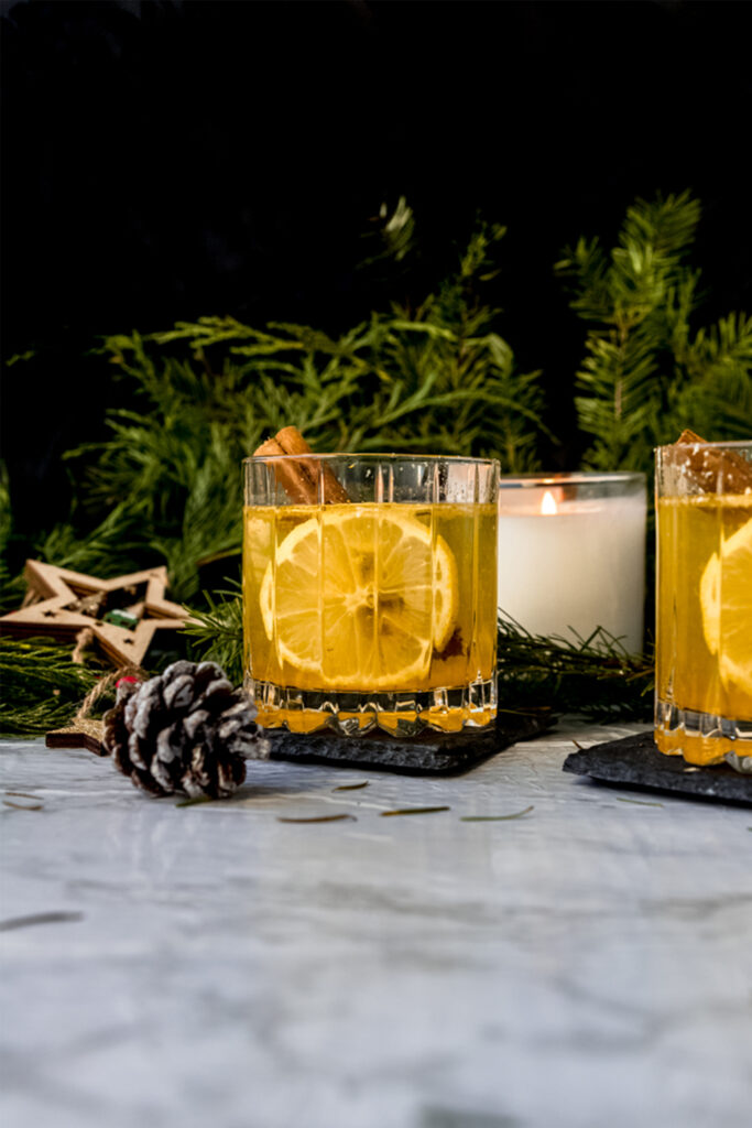 hot toddy in a crystal glass on a marble table