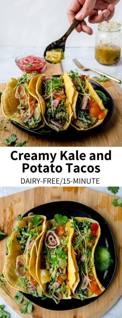 These Creamy Kale and Potato Tacos are inspired by those served the classic Washington, D.C. restaurant Chaia! This version uses a cashew cream sauce base to cook crispy potatoes and kale for the perfect tortilla filling. Topped with salsa verde, pickled onions, and microgreens, they're a delicious and easy plant-based dinner option!