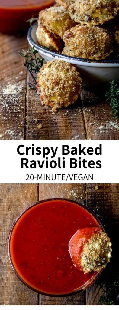 These Crispy Ravioli Bites are a baked treat perfect for game day snacking! Coated in herby breadcrumbs and cheese, they're great for dunking into warmed marinara sauce. They're a vegan recipe that's fun to make and ready in 20 minutes!