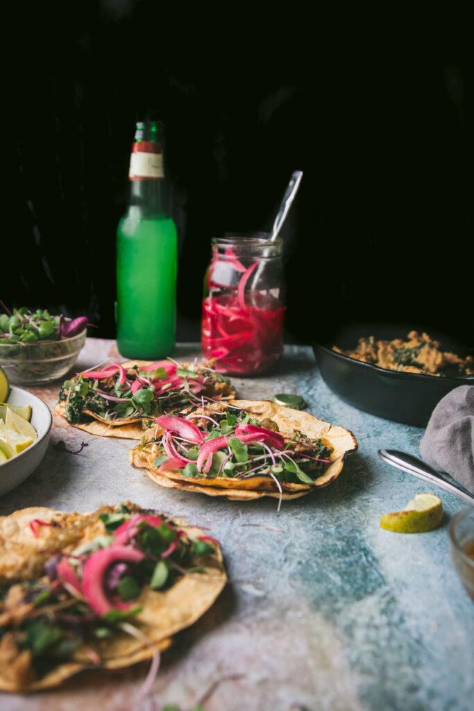 table with chaia creamy kale potato tacos