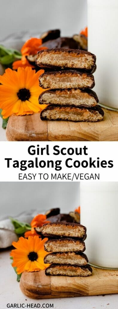 These Homemade Tagalongs are a DIY version of the classic Girl Scout cookie! Also known as Peanut Butter Patties, this crispy cookies are topped with a layer of PB and coated in smooth chocolate. Simple to make, a crowd-pleasing flavor combination, and totally vegan!