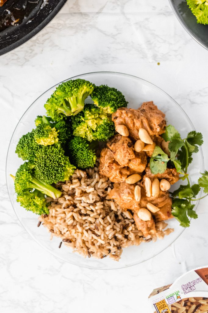 glazed orange tofu meal prep with broccoli and rice