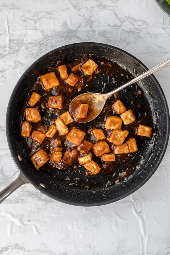 sesame tofu for meal prep in a skillet
