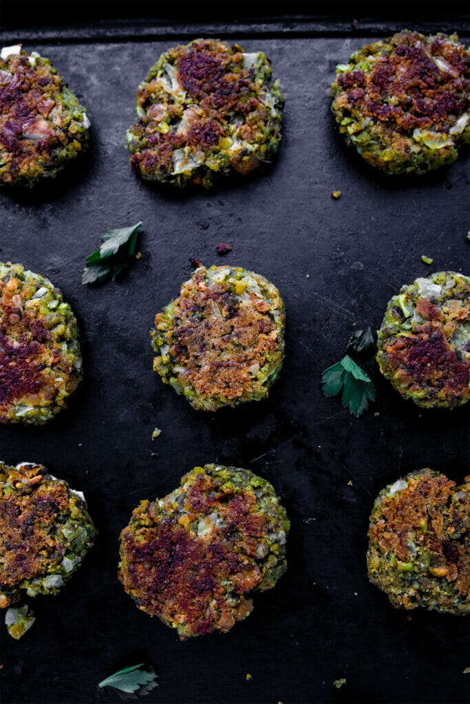 tray of vegan pistachio falafel with herbs