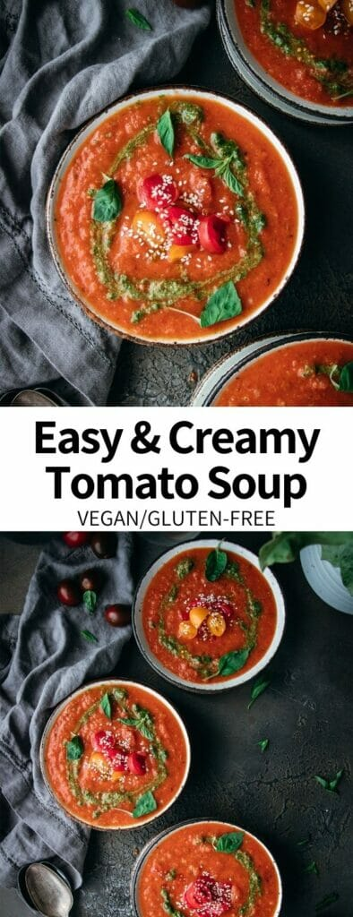 This Easy & Creamy Tomato Soup recipe comes together in just 30 minutes, making it a perfect easy weeknight meal. Add some fun flavor with a swirl of pesto! It's a vegan and gluten-free recipe the whole family will love.