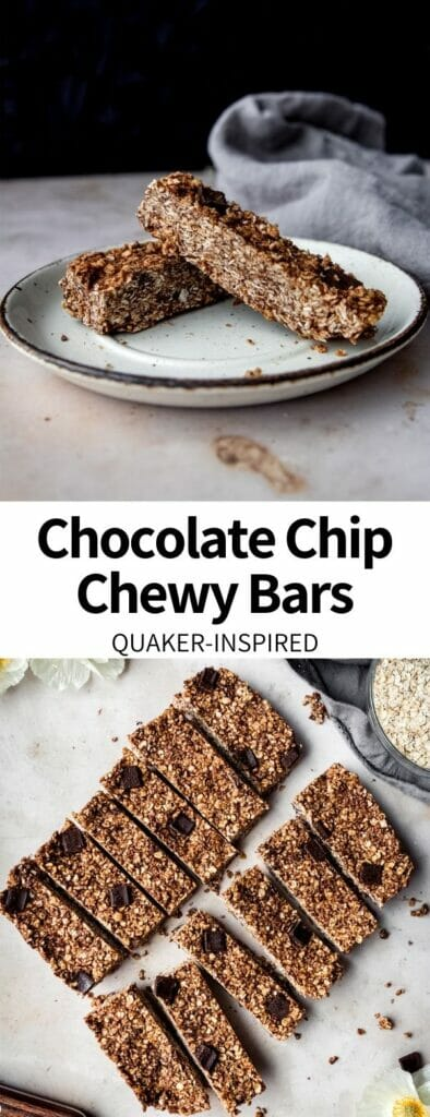 These Chocolate Chip Chewy Bars taste just like the classic Quaker snack! Easy granola bars full of nut butter, quick oats, and dark chocolate chunks. Nostalgic and perfect for snacking!