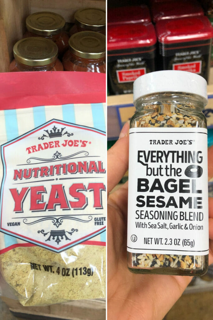 top trader joes vegan seasonings with everything but the bagel and nutritional yeast