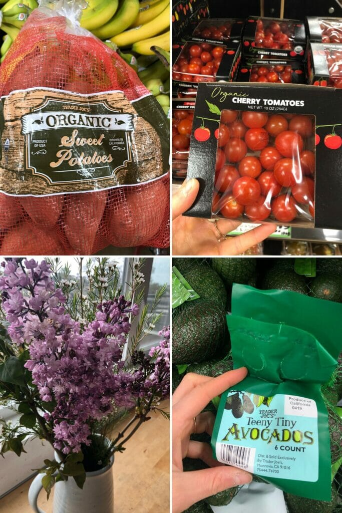 collage image of cherry tomatoes, sweet potatoes, lilacs, and avocados