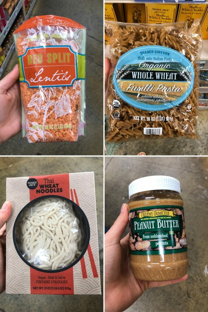 best trader joes pantry items with fusilli pasta, red lentils, thai noodles, and peanut butter